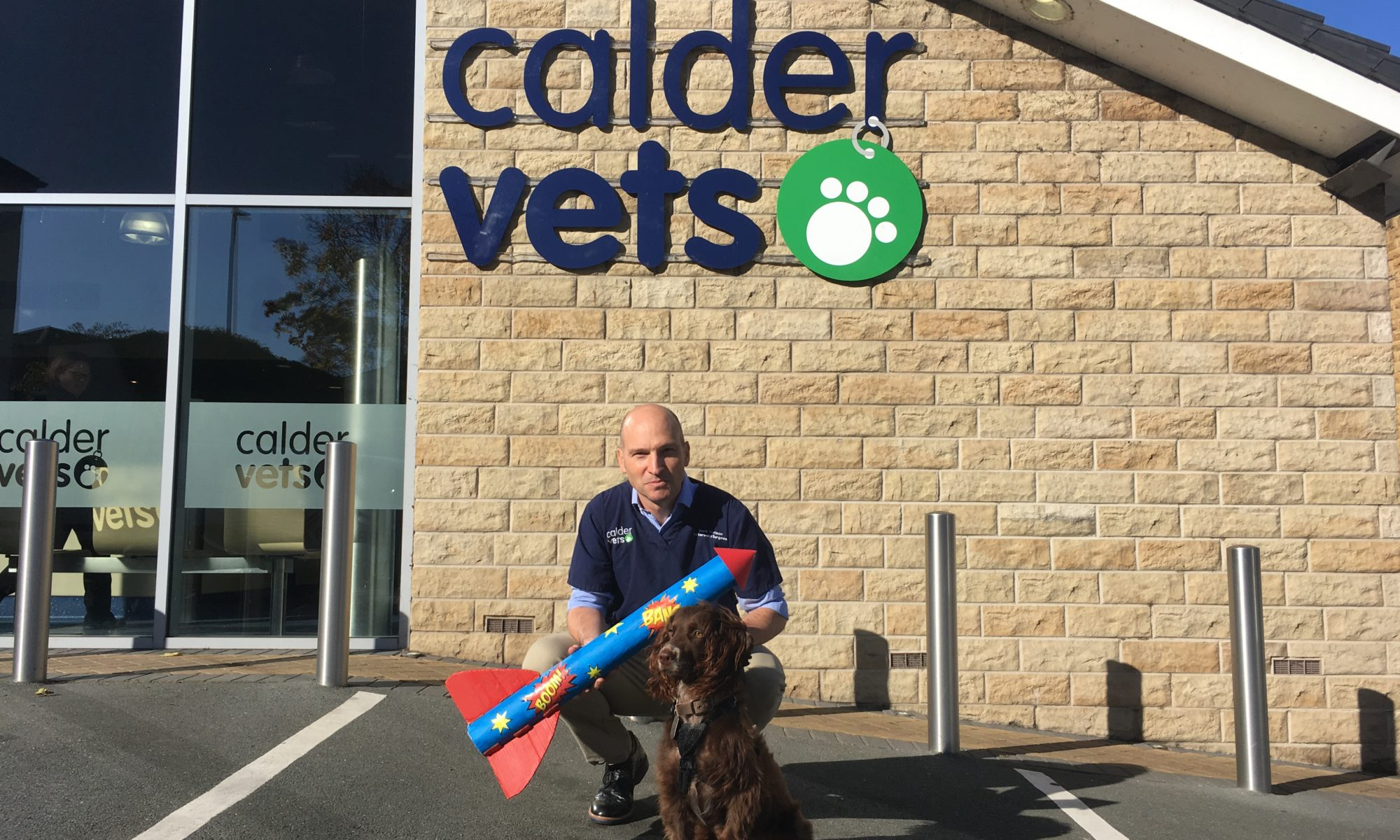 Vet surgeon Mark Harrison and dog Moriarty