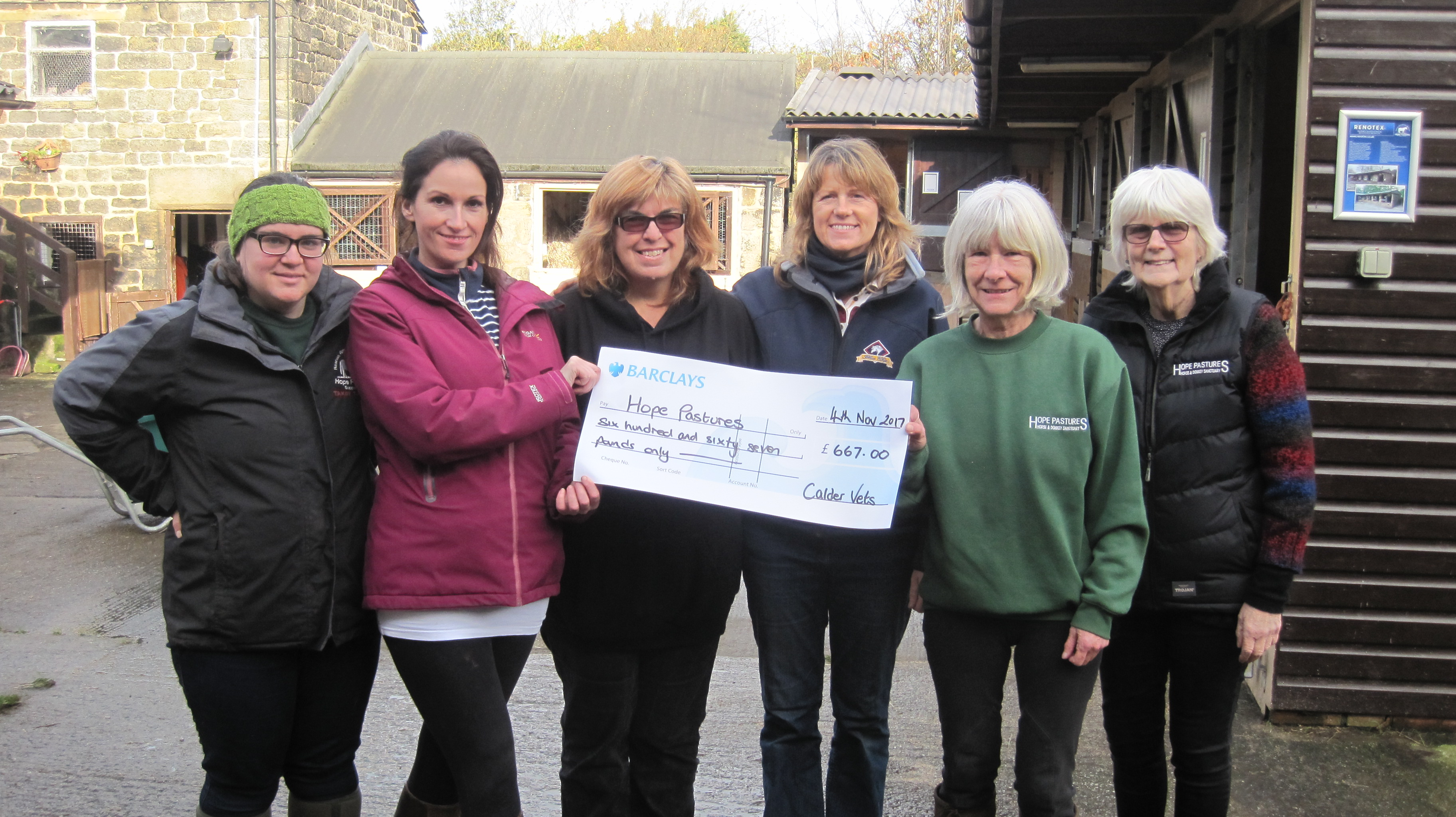 Calder Vets staff raise more than £650 for Hope Pastures